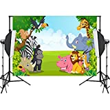 Aisnyho Jungle Safari Backdrop Forest Animal Themed Background Birthday Photo Backdrops for Photography Studio Party Decorations Baby shower Newborn Booth Props 7x 5ft