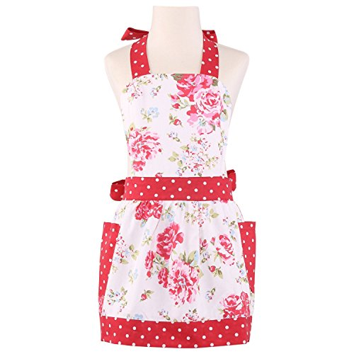 NEOVIVA Kids Aprons for Girls with Pockets, Durable Canvas Toddler Apron for Kids Cooking, Baking, BBQ and Gardening, Style Diana, Floral Lollipop ()