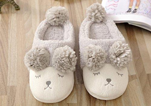 Vwu Mujeres Girls Sheep Warm Plush Soft Sole Interior De La Casa Fuzzy Lamb Slippers Gray