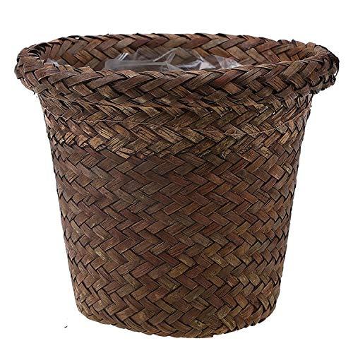 (SeedWorld Storage Baskets - Handmade Storage Basket Woven Storage Box Retro Flower Pot Natural Seagrass Garden Planter Desk Trash Bin Wicker Baskets 1 PCs)