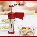 Saken Deluxe II Cookie Press Kit - Stainless Steel Biscuit Press Set with plastic handle. Includes 20 Discs & 4 Icing Tips. Best Christmas Spritz Dough Cookie Gun. Free Recipe Included by Saken