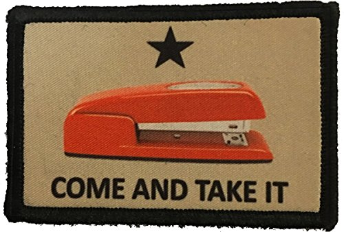 "Red Stapler ""Come and Take It"" Morale Patch. Perfect for your Tactical Military Army Gear, Backpack, Operator Baseball Cap, Plate Carrier or Vest. 2x3"" Hook and Loop Patch. Made in the USA"