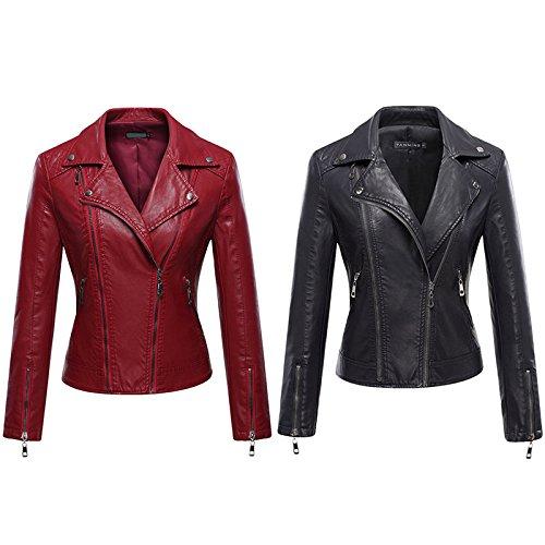 cuir Veste avec de femme pour Noir boutons capuche glissire moto fermeture mode iBaste en et de zBAnfUU