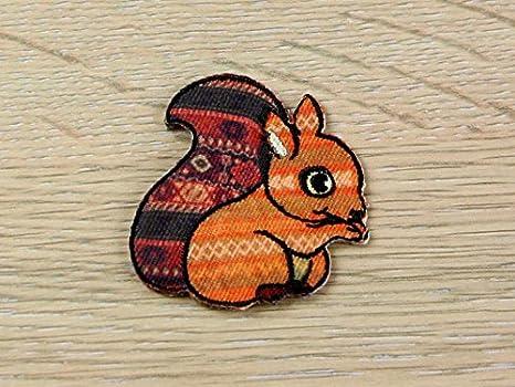 Aztec squirrel embroidered iron on motif applique orange each