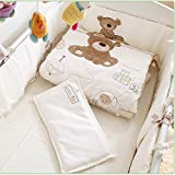JACKBEBE Unisex Baby Bedding Set Cotton 3D Embroidery Bear Quilt Pillow Bumper Bed Sheet 5 Pieces Crib Bedding Set White Color
