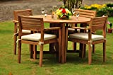 Clearance 5 Pc Grade-A Teak Wood Dining Set - 48'' Round Butterfly Table And 4 Montana Stacking Arm Chairs #WFDSMT1