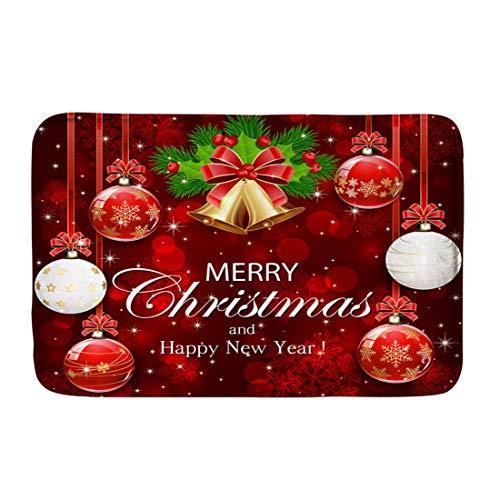 INSTANTARTS Christmas Doormat Bells Ball Holly Berry Fir Tree Branches Door Mat Washable Carpet ()