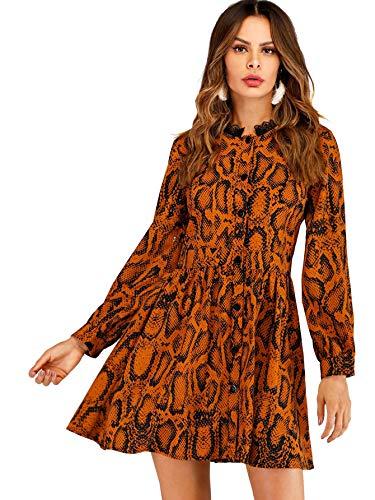 Floerns Women's Printed Long Sleeve Button A-Line Short Dress Orange L