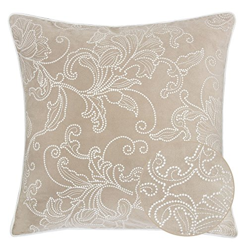 Homey Cozy Embroidery Velvet Throw Pillow Cover,Beige Series Latte Silver Floral Soft Fuzzy Cozy Warm Slik Decorative Square Couch Cushion Pillow Case 20 x 20 Inch, Cover Only - Beige Floral Pillow