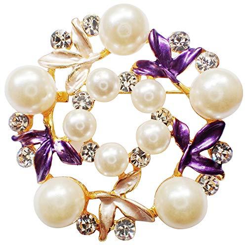 (Bijoux De Ja Gold Tone Enamel Rhinestone Faux Pearl Wreath Woman Brooch Pin (Purple) )