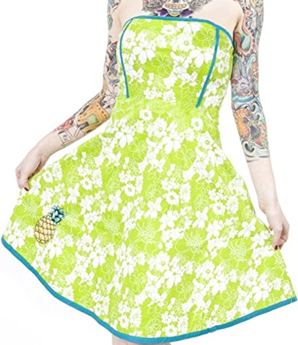 Hawaiian Hula Dress (Sourpuss Green & White Floral Print Strapless Pineapple Dress from Clothing)