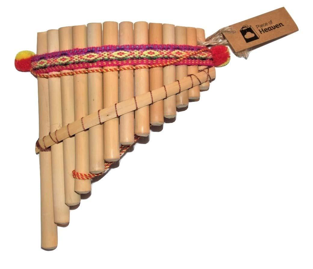 Artesanal Curved Pan Flute 13 Pipes Natural Bamboo