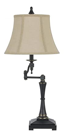 Oil Bronze 150w 3 Way Madison Swing Arm Table Lamp With Burlap Shade