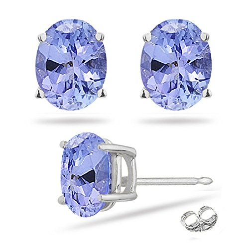0.78-1.10 Cts of 6x4 mm AA Oval Tanzanite Stud Earrings in ()