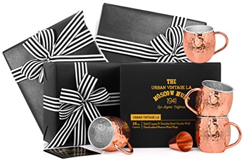 Gift Wrapped Set of 4 Moscow Mule Copper Mugs with Stainless-Steel Lining | Large Gift Box Includes 4 Double Wall Copper Mugs, Shot Glass & Cocktail Recipe Book | Premium, Hammered, Heavy-Duty Cups by Urban Vintage LA (Image #9)