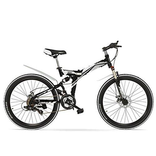 K660M 24/26インチ折り畳みMTBバイク、21速折り畳み自転車、ロック可能フォーク、フロント&リアサスペンション、ディスクブレーキ、マウンテンバイク B078RM36HS 24 インチ|白黒 白黒 24 インチ