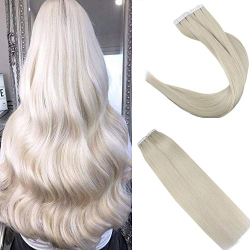 Easyouth Full Head Tape in Hair Extensions 24inch 100 Gram Invisible Hair Extensions Straight Pull Through Hair For Women White Blonde Color #1000 Hair Extensions