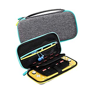 Kootek Travel Carry Case for Nintendo Switch Lite (2019 Version), 14 Game Card Holders 2 Micro SD Cards Slot Protective Hard Shell Portable Carrying Cases Accessories Storage