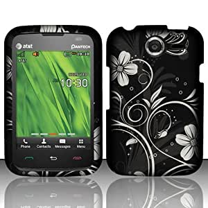 For Pantech Renue P6030 (AT&T) Rubberized Design Cover - White Flowers