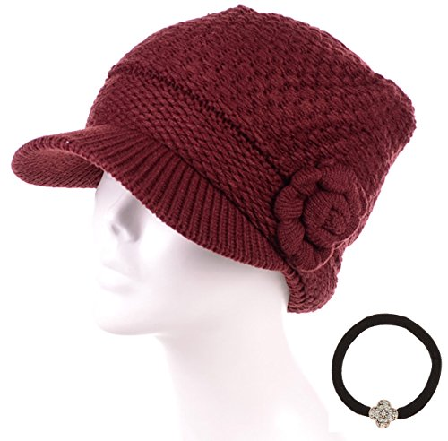 MIRMARU Women's Winter Cable Knitted Beret Visor Beanie Hat with (Rosette Accent Knit)