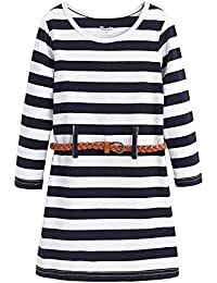 Girls Stripe Long Sleeve Party Mini Casual Dresses 3-12 Years