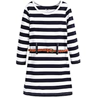 Frogwill Girls Stripe Long Sleeve Party Mini Casual Dresses 3-12 Years