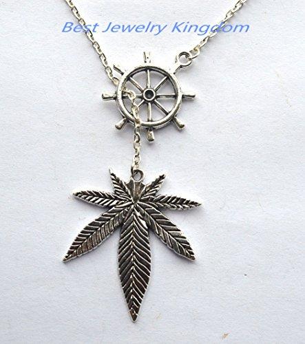 Ship Wheel Necklace, Rudder Necklace, Nautical Jewelry, Maple Leaf Necklace, Silver Leaf Necklace, Woodland Necklace