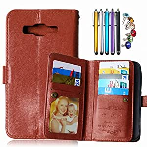 LEMORRY Samsung Galaxy J5 J500 Wallet Case, 2in1 TPU Cover + Flip Premium PU Leather Magnetic Bumper Protective Pouch Brown