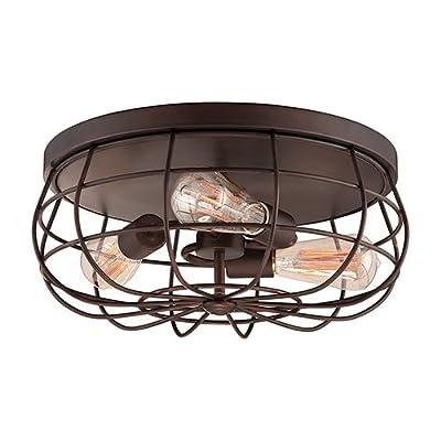 Millennium Lighting 5323 Neo-Industrial 3 Light Flush Mount Ceiling Fixture, Rubbed Bronze by Millennium Lighting