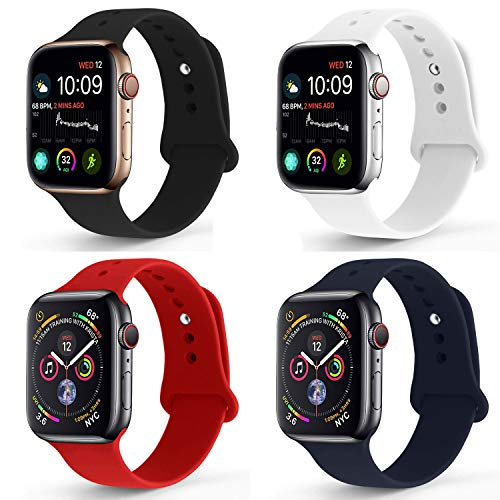 NUKELOLO Sport Band Compatible with Apple Watch 42MM 44MM,Soft Silicone Replacement Strap Compatible for Apple Watch Series 4/3/2/1 [M/L Size in Black/White/Midnight Blue/Red]