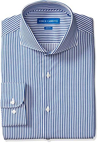 (VINCE CAMUTO Men's Slim Fit Spread Collar Dress Shirt, Indigo/White Stripe, 15.5 32/33 )