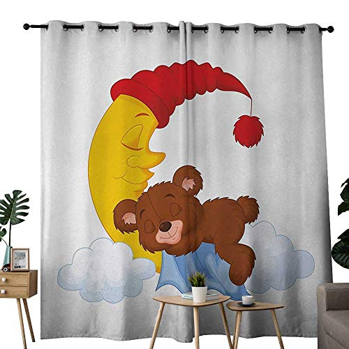 - Bear Insulated Sunshade Curtain Adorable Cartoon for Kids Cute Baby Character Falls Asleep on Moon with Hat and Clouds for Living, Dining, Bedroom (Pair) W108 x L96 Multicolor