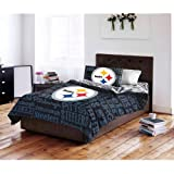 5 Piece NFL Steelers Comforter with Sheets Full Set, Black Blue Multi Football Themed Bedding Sports Patterned, Team Logo Fan Merchandise Athletic Team Spirit Fan, Polyester, For Unisex
