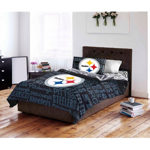 4 Piece NFL Steelers Comforter with Sheets Twin Set, Black Blue Multi Football Themed Bedding Sports Patterned, Team Logo Fan Merchandise Athletic Team Spirit Fan, Polyester, For Unisex (Comforter Steelers Pittsburgh Twin)