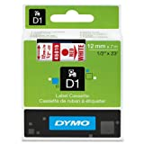 12Mm Label Printer - DYMO Standard D1 Labeling Tape for LabelManager Label Makers, Red print on White tape, 1/2'' W x 23' L, 1 catridge (45015)