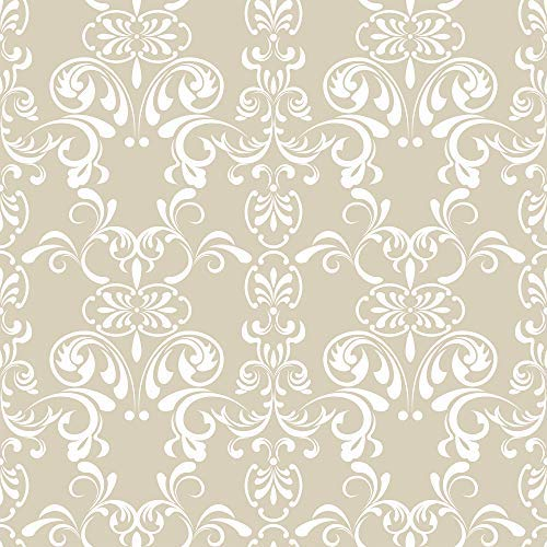 WallsByMe Peel and Stick Beige Damask Basic Removable Wallpaper 2948-2ft x 8.5ft (61x260cm) - WallFab - 7mil ()