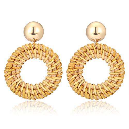 PHALIN Rattan Earrings Handmade Weave Straw Wicker Braid Drop Dangle Earrings Lightweight Geometric Statement Earrings for Women (A ()