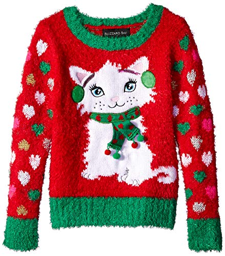 Girls Christmas Sweater - Blizzard Bay Girls' Big L/S Crew Neck Christmas Kitty Sweater, red Combo, S-7/8