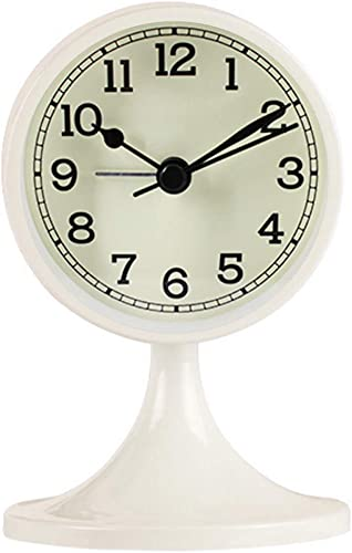 Danse Jupe 3 Alarm Clock Round Quartz Analog Desk Clock Vintage Silent Non Ticking Battery Operated for Bedroom Off-White