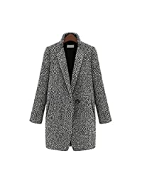 HEMAY Women's Trench Coat One-Button Jacket Lapel Outerwear Plus Size