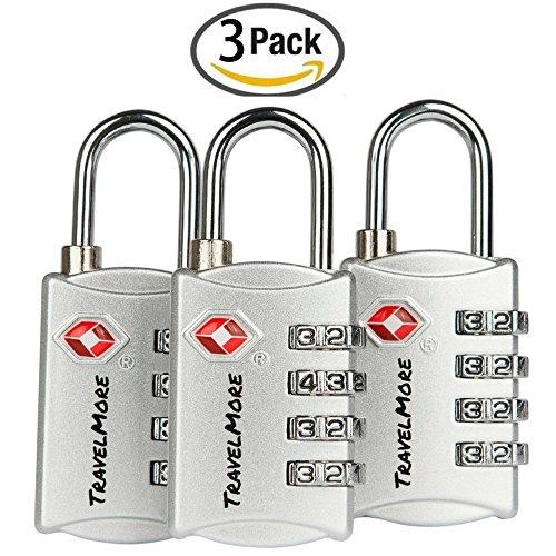 3 Pack TSA Luggage Locks with 4 Digit Combination – Heavy Duty...