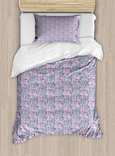 - Bohemian Duvet Cover Set Twin Size Beads And Feathers Illustrated In Pastel Tones,2 Piece Bedding Set With With 1 Pillowcase For Kids Bedding,Baby Pink Pale Lilac Pale Salmon And Pale Blue