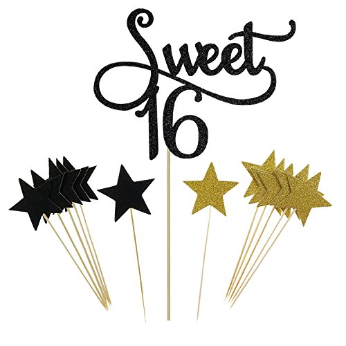 Shxstore Black Monogram Sweet 16 Cake Topper Glitter Star Cupcake Picks For 16th Birthday Anniversary Party Decoration Supplies