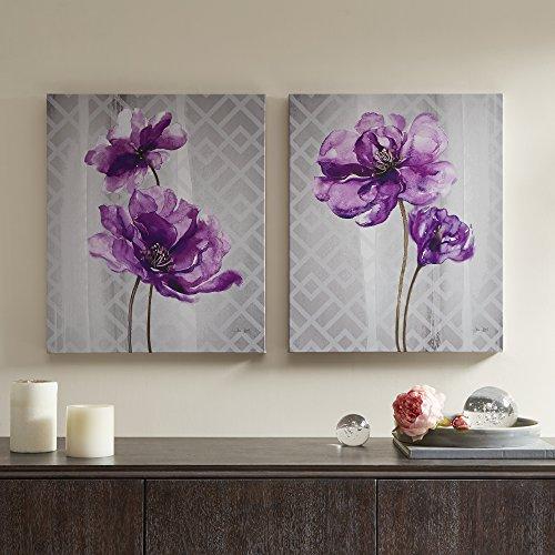 Décor 5 - Printed Canvas Set - 2 Pieces, 20'' x 24'' - Flourish - Purple, Grey, Floral (Hall Floral Print)