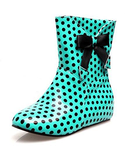 Aisun Womens Cute Antiskid Polka Dots Round Toe Dress Flat Slip On Booties Short Rain Boots With Bows Green