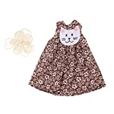 MonkeyJack 1/6 Cute Floral Cat Face Sleeveless Dress with Hairpin Outfit For 12'' Neo Takara Blythe Dolls Clothes Chocolate