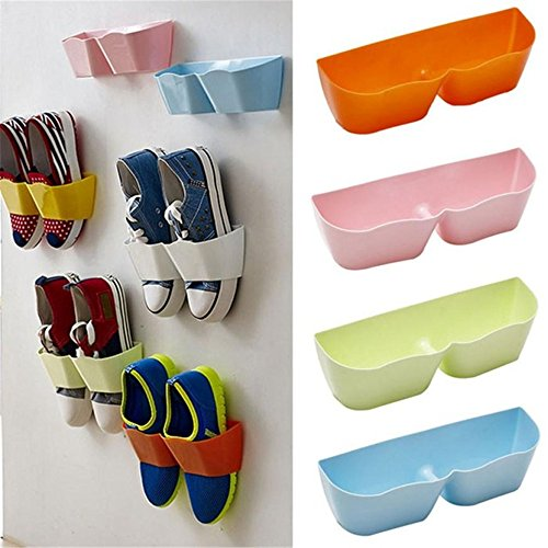 Great Deal! Wall Mounted Shoes Rack – 4 PCS Plastic Shoe Storage Racks for Entryway Over the Door Shoe Hangers Organizer Hanging