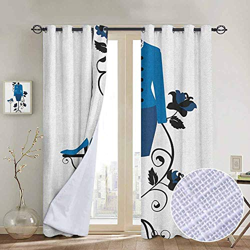 (NUOMANAN Grommet Curtains Heels and Dresses,Mannequin in Tailors Shop with Blooming Flower Retro Classical, Blue Black White,Blackout Draperies for Bedroom Window)