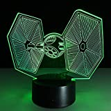 QIANDONG1 Creative Gifts Star Wars Tie Fighter Lamp 3D Decor Vision Desk Lampara Led USB 7 Colors Changing Baby Sleeping Night Light