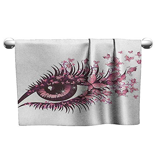 wel W28 x L14 Butterflies,Fairy Female Eye with Butterflies Eyelashes Mascara Stare Party Makeup, Pale Pink Purple Decent Towels ()